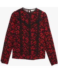 Oasis Floral Lace Trim Top - Red