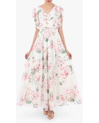 Jolie Moi Floral Maxi Bridesmaid Dress - Pink