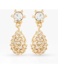 Susan Caplan Vintage D'orlan 22ct Gold Plated Swarovski Crystal Teardrop Clip-on Drop Earrings - Metallic