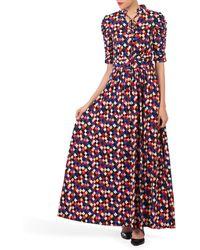 Jolie Moi Printed Tie Collar Maxi Dress - Multicolour
