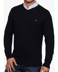 Raging Bull Cotton Cashmere V-neck Jumper - Black