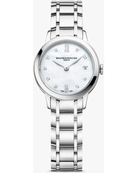 Baume & Mercier M0a10490 Classima Diamond Date Bracelet Strap Watch - Metallic