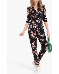 Jolie Moi Cheryl Floral Print Jumpsuit - Black