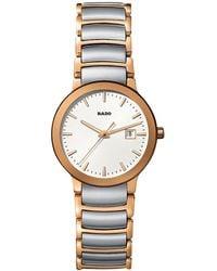 Rado - R30554103 Unisex Centrix Date Two Tone Bracelet Strap Watch - Lyst