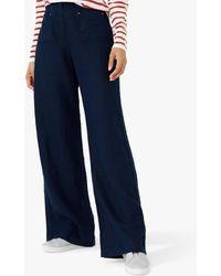 Brora Wide Leg Linen Trousers - Blue