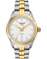 Tissot - T1012102203100 Women's Pr 100 Date Two Tone Bracelet Strap Watch - Lyst