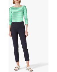 Hobbs Mallory Cotton Blend Capri Trousers With Stretch - Blue