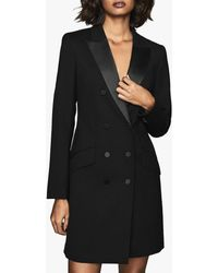 Reiss Wool Blend Tuxedo Dress - Black