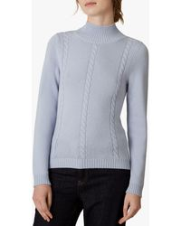 Jaeger Wool Cashmere Cable Knit Jumper - Blue
