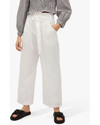 Mango Belted Cotton Blend Trousers - White