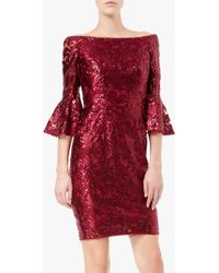 Adrianna Papell - Sequin Off The Shoulder Bell Sleeve Sheath Dress - Lyst
