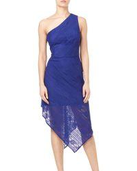 Adrianna Papell - Vintage Stripe One Shoulder Dress - Lyst