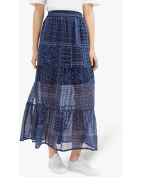 French Connection Anthemis Folk Skirt - Blue