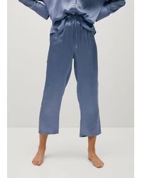 Mango Satin Pyjama Trousers - Blue