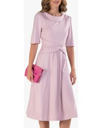 Jolie Moi Fold Over Fit And Flare Midi Dress - Pink