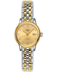 Longines - L43743377 Women's Flagship Automatic Diamond Date Two Tone Bracelet Strap Watch - Lyst