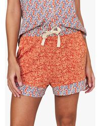 White Stuff Rosehip Print Jersey Pyjama Shorts - Orange