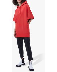 French Connection Lilosa Jersey Longline Hooded Sweatshirt - Red