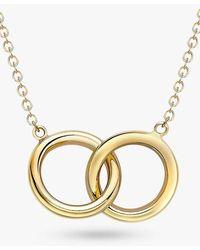 Ib&b 9ct Gold Linked Ring Pendant Necklace - Metallic