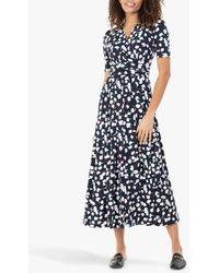 Jolie Moi Acadia Abstract Floral Print Wrap Maxi Dress - Blue