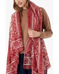 Brora Floral Print Wool Stole Scarf - Red
