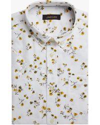 Jaeger Linen Cotton Floral Short Sleeve Shirt - White