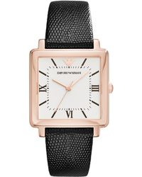 Emporio Armani - Ar11067 Women's Square Leather Strap Watch - Lyst