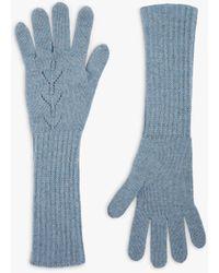 Brora Pointelle Cashmere Gloves - Blue