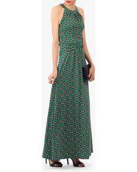 Jolie Moi Geometric Print Halter Neck Maxi Dress - Green