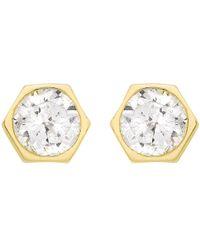 Ib&b | 9ct Gold Hexagonal Cubic Zirconia Stud Earrings | Lyst