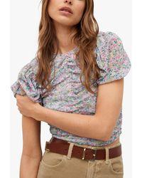 Mango Floral Print Ruched T-shirt - Multicolour