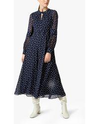 Hobbs Piper Spot Midi Dress - Blue