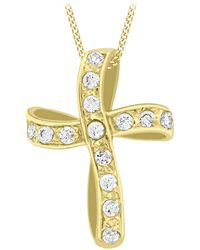 Ib&b | 9ct Yellow Gold Twisted Cubic Zirconia Cross Pendant | Lyst