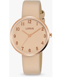 Lorus Leather Strap Watch - Natural
