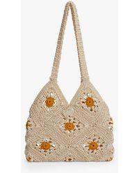 Mango Flowers Crochet Bag - Natural