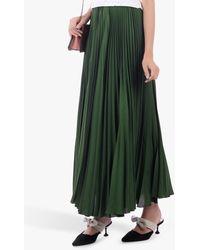 Jolie Moi Pleated Crepe Maxi Skirt - Green