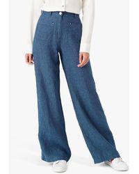 Brora Cross Woven Linen Trousers - Blue