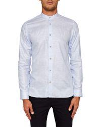 Ted Baker - Felday Grandad Collar Linen Shirt - Lyst