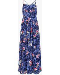 Yumi' Crane Print Maxi Dress - Blue