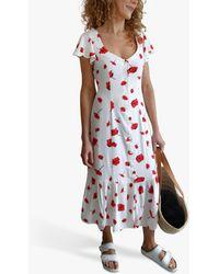 Baukjen Reign Poppy Floral Button Front Midi Dress - Red