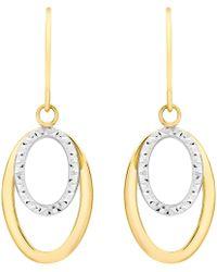 Ib&b - 9ct Gold 2 Tone Double Oval Drop Earrings - Lyst