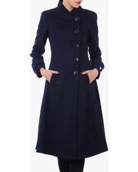 Jolie Moi Button Front Flared Coat - Blue