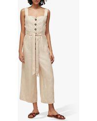 Whistles Hadley Linen Jumpsuit - Natural