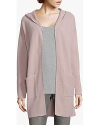 Betty Barclay Betty & Co Ribbed Knit Open Neck Hoodie - Pink