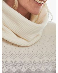 Pure Collection Ribbed Cashmere Snood - White