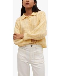 Mango Contrasting Knitted Polo Shirt - Yellow