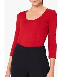Hobbs Daisy Scoop Neck Top - Red