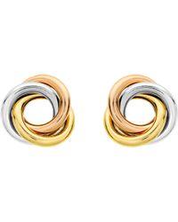 Ib&b - 9ct Three Colour Gold Knot Stud Earrings - Lyst