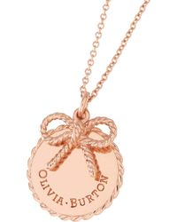 Olivia Burton   Coin And Bow Pendant Necklace   Lyst
