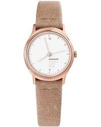 Mondaine - Helvetica Mh1.l1110.lg Women's Leather Strap Watch - Lyst